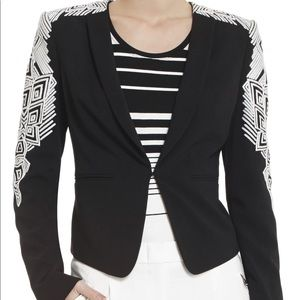 Used, BCBGMAXAZRIA 'ABRAM' EMBROIDERED SLEEVE JACKET for sale